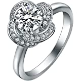 Women 925 Silver Jewelry 1CT Clear Flower Wedding Engagement Ring Size 6-10#by pimchanok shop (7, Clear)