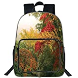 iPrint 19' Large Casual Backpack,Country Home Decor,Maple Trees in the Fall at Portland Japanese Garden One Foggy Morning Scenery,Red Yellow Green,for boys girls