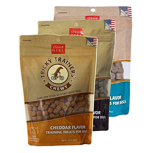 Cloud Star Chewy Tricky Trainers Training Treats for Dogs Variety 3 Pack - 1 Cheddar - 1 Liver - 1 Salmon - 14 oz Each ()