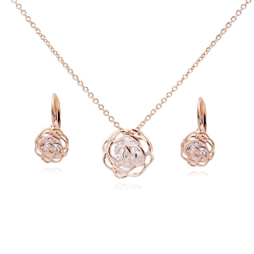 Flowers Roses Crystals from Swarovski Set Pendant Necklace 18'' Lever Back Earrings 18 ct Rose Gold Plated for Women
