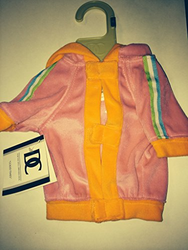 - Dickens' Closet dog pet Velour Hoodie Pink with Orange Trim XS
