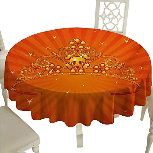 Queen Fabric Dust-Proof Table Cover Fancy Halloween Princess Crown with Little Skull Daisies on Radial Orange Backdrop Stars Runners,Gatsby Wedding,Glam Wedding Decor,Vintage Weddings D54 Orange -