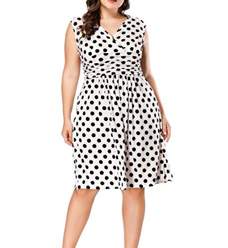 Eternatastic Womens Vintage Polka Dot Dress V-Neck Plus Size Dress 5XL White