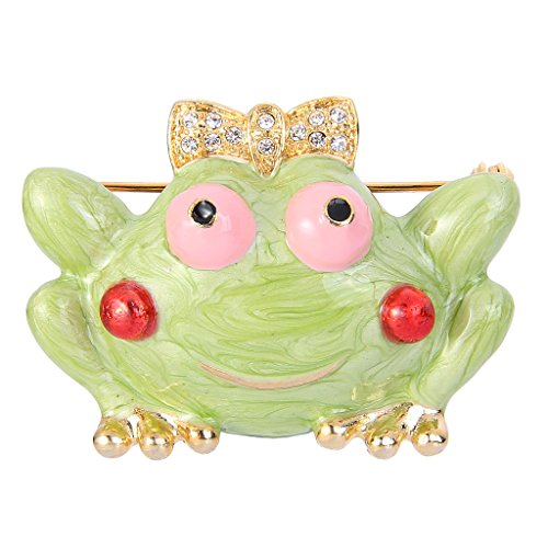 EVER FAITH Gold-Tone Austrian Crystal Girl's Gift Green Enamel Little Frog with Bowknot Brooch Pin (Austrian Crystal Frog Pin)