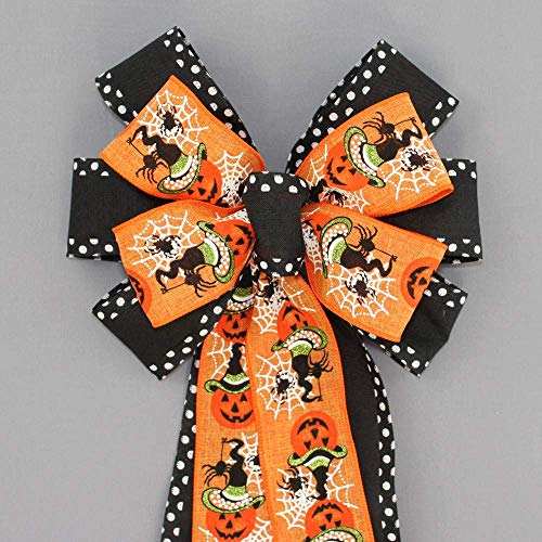 Festive Pumpkin Spider Polka Dot Halloween Wreath Bow - 10