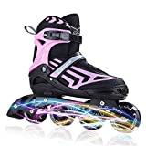 ITurnGlow Kids and Adults Adjustable Inline Skates with Full Light Up Wheels, Safe and Smooth...