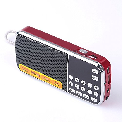 Mfine Portable Mini USB FM Radio Speaker Music Player Micro SD/TF Card For PC iPod Phone (088 Red)