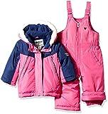 OshKosh B'Gosh Baby Girls Ski Jacket and Snowbib Snowsuit Outfit Set, Indigo Blue/Dynamite Pink, 18M