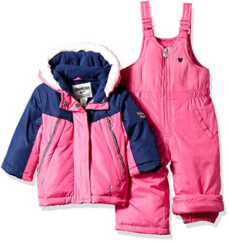 (OshKosh B'Gosh Baby Girls Ski Jacket and Snowbib Snowsuit Outfit Set, Indigo Blue/Dynamite Pink,)