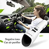 air cleaner car - Car Air Purifier, JANBOTEK Ionic Air Cleaner Ionizer with 2 Smart USB Port Smart Car Charger - Removes Smoke, Bad Smell and Odors Eliminator (White)