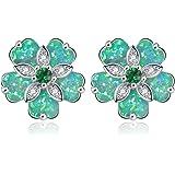 CiNily Flower Earrings Opal Stud Earrings for Women Rhodium Plated Hypoallergenic Jewelry Gemstone Earrings 15mm
