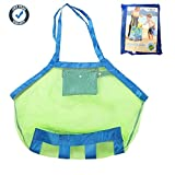 COOLGOEU XL Large Mesh Beach Tote Bag for Outdoor Swim Pool Childrens and Kids Toys Travel Towels Sand Away Organizer Storage Bags, Foldable & Lightweight (Blue)