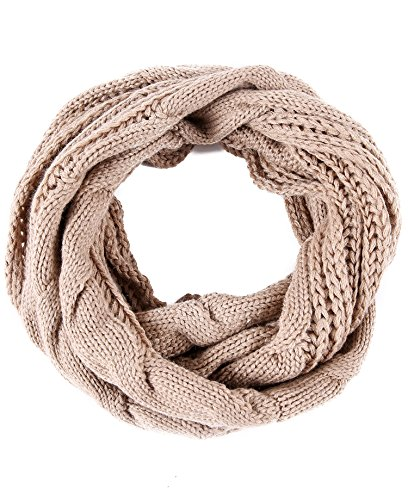 Luxina Twist Infinity Scarf Ribbed Knit Circle Wrap Winter Loop Scarf Khaki