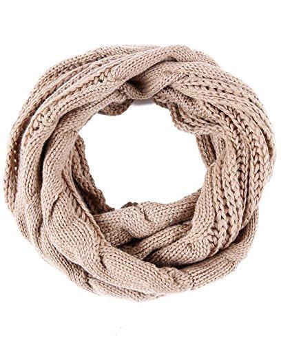 Luxina Twist Infinity Scarf Ribbed Knit Circle Wrap Winter Loop Scarf Khaki