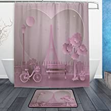 """Valentine's Day French Paris Love Pink Eiffel Tower Waterproof Polyester Fabric Shower Curtain (60"""" x 72"""") Set with 12 Hooks and Bath Mats Rugs (23.6"""" x 15.7"""") Non Slip for Bathroom - Set of 2"""