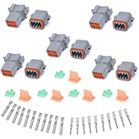 MUYI 5 Kit 8 Pin Way DT Series Connector Gray Receptacle IP67 Waterproof Heavy Duty 14-20 AWG 13 Amps Continuous DT04-8P DT04-8S w/ Wedge Lock W8P W8S (5 Kits, 8 Pin)
