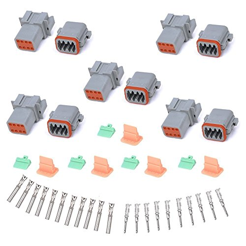 MUYI 5 Kit 8 Pin Way DT Series Connector Gray Receptacle IP67 Waterproof Heavy Duty 14-20 AWG 13 Amps Continuous DT04-8P DT04-8S w/Wedge Lock W8P W8S (5 Kits, 8 Pin)