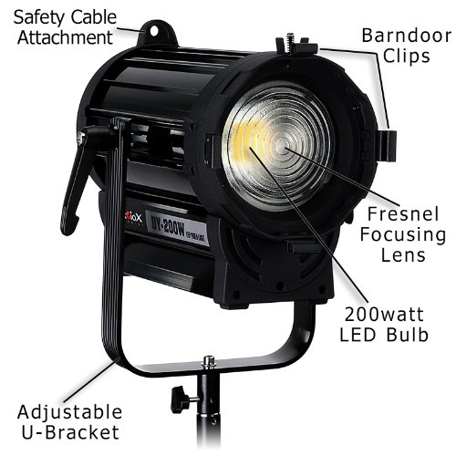 Fotodiox Pro DY-200w Tungsten Fresnel LED, High-Intensity LED Fresnel Light for Film & Television - with Remote Dimmable and Focusable Control, 12V AC Power Adapter, Light Stand bracket and Removable Barndoors, CRI > 85 by Fotodiox (Image #6)
