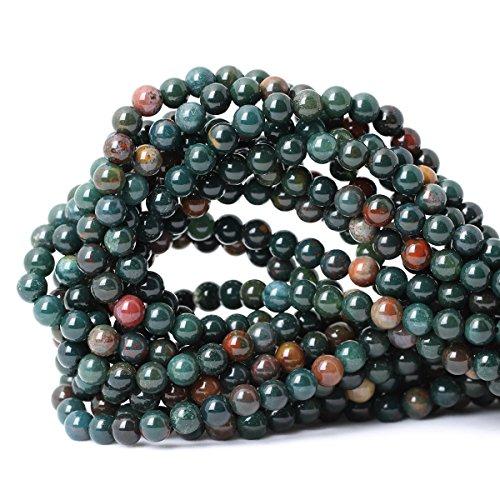 Qiwan 60PCS 6mm Natural Bloodstone Gemstone Smooth Round Loose Beads for Jewelry Making DIY Crafts Design Healing 1 Strand 15
