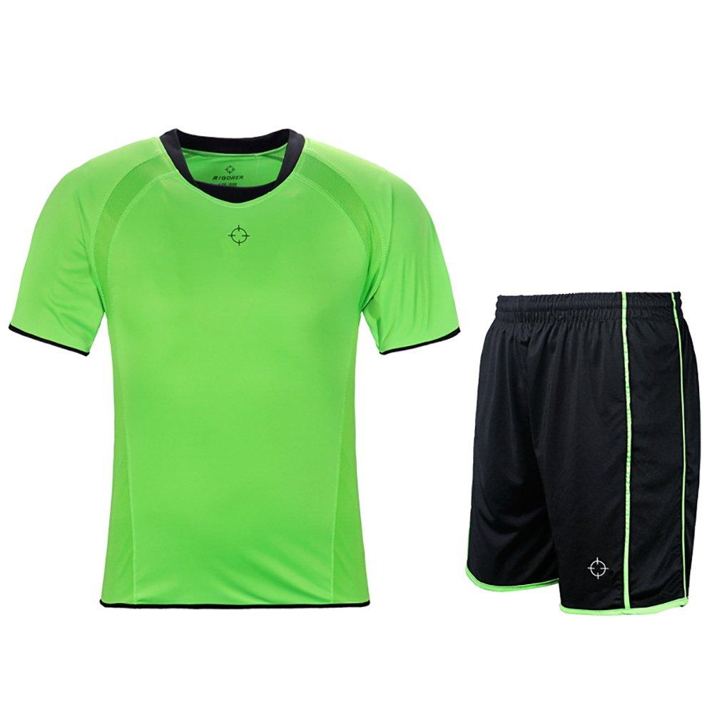 rigorerキッズ男の子女の子サッカージャージーと短パントレーニングジャージーセット半袖Soccer Uniform B0778KPF8N 150|グリーン/ブラック グリーン/ブラック 150