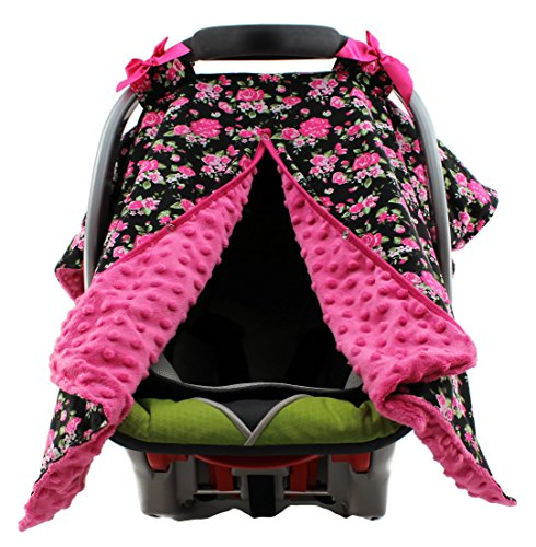 (Dear Baby Gear Carseat Canopy, Vintage Floral Hot Pink on Black, Hot Pink Minky)