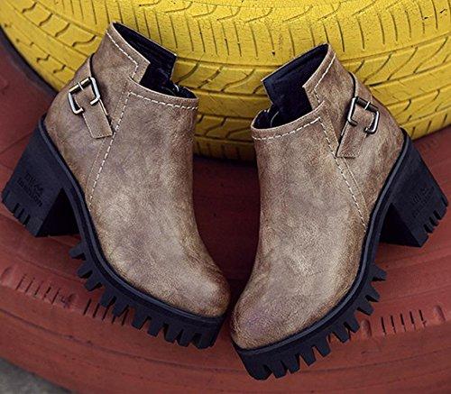 Martin cerniera spessore 120W britannica 39 retrò NSXZ BROWN con donna rotonde impermeabili alti stivali stivali con stivali stivali di PHqRRF1OI
