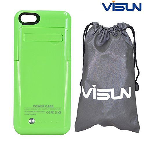 Visun 2200mAh Slim External Rechargeable Backup Battery Charger Charging Case Cover with Pop-Out Kickstand and Visun Waterproof Bag for iPhone 5 5C 5S (Green)