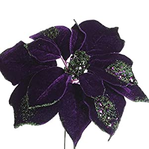 Factory Direct Craft Trio of Rich Shimmering Artificial Purple Poinsettia Floral Stems for Holiday Decor, Centerpieces, and Displays 100
