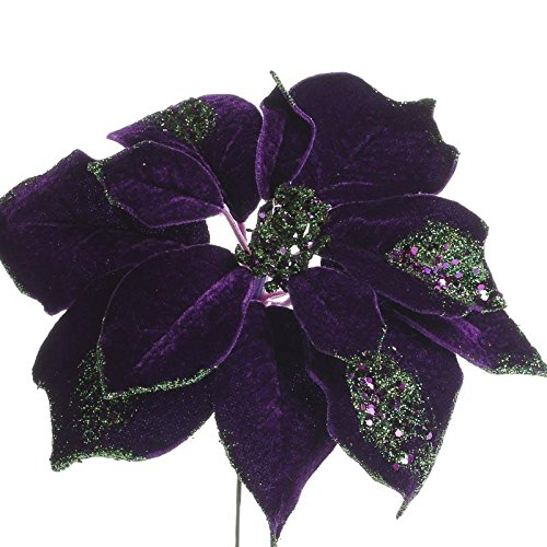 - Factory Direct Craft Trio of Rich Shimmering Artificial Purple Poinsettia Floral Stems for Holiday Decor, Centerpieces, and Displays