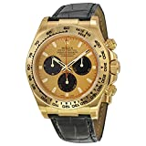 Rolex Cosmograph Daytona Champagne Index Dial Black Leather Bracelet 18kt Yellow Gold Mens Watch 116518CSL