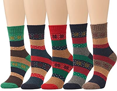 Leotruny 5- Pairs Womens Winter Vintage Thick Knitting Warm Crew Wool Socks