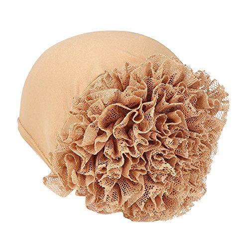 CHIDY Women Floral India Hat Muslim Ruffle Pure Color Trend Anti-Hair Loss Cap Beanie Scarf Turban Wrap ()
