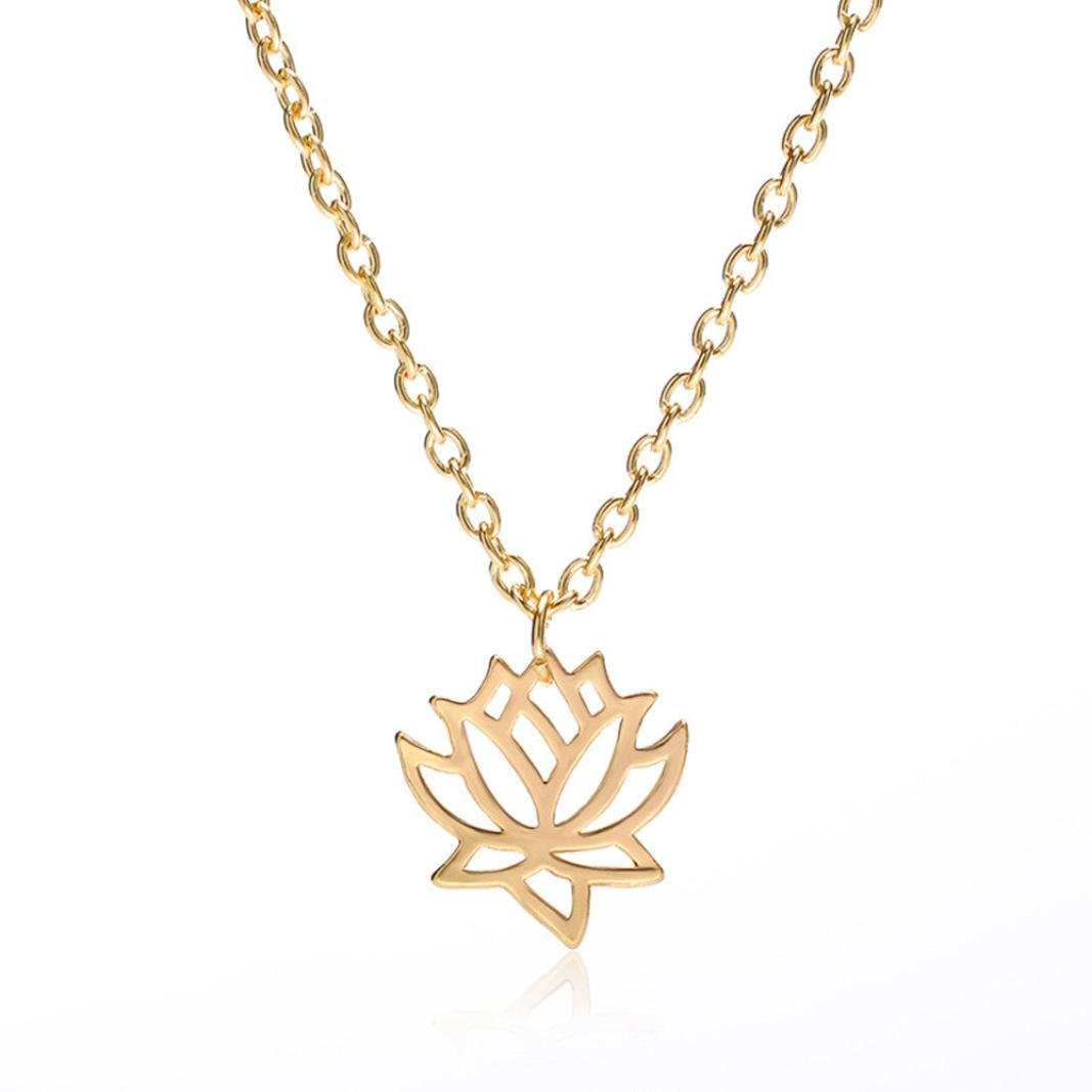 Popular Necklaces,RTYou Women Hollow Lotus Flower Charm Handmade Necklace Pendant Chain Gold Silver Jewelry Gift (Gold)