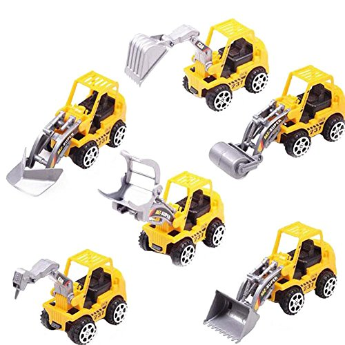 AxiEr Mini Machine Construction Truck Toy Cars Set of 6, Dump Truck, Bulldozer, Wheel Loader, Excavator Backhoe and Roller Free-Wheeling Vehicles Moving Parts