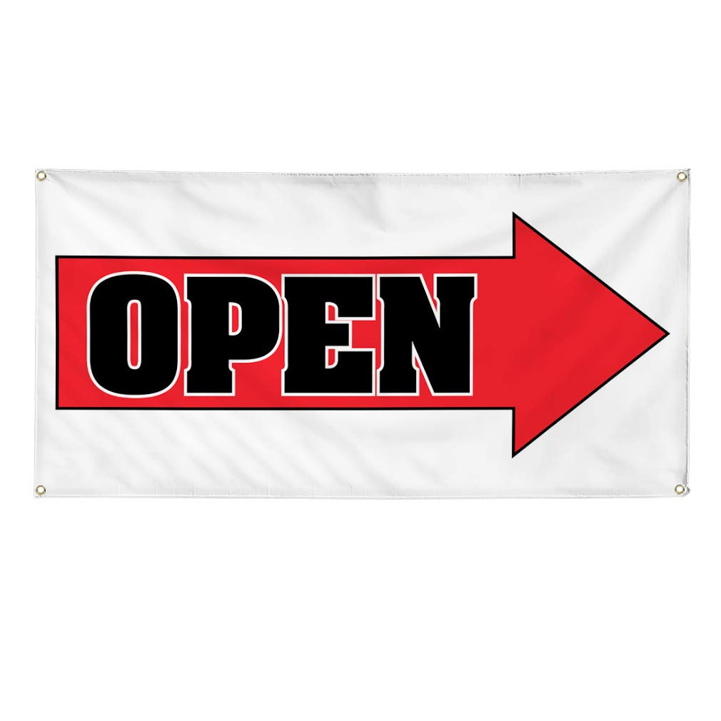 24inx60in 4 Grommets Vinyl Banner Sign Open #2 Style B Business Open Outdoor Marketing Advertising Red Set of 3 Multiple Sizes Available