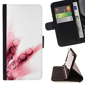 - Queen Pattern FOR HTC One M8 /La identificaci????n del cr????dito ranuras para tarjetas tir????n de la caja Cartera de cuero cubie - red watercolor ring white abstract art -