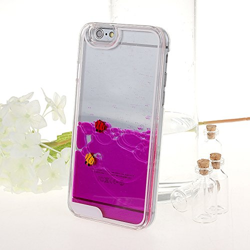 """Schutzhülle für iPhone 6, Nsstar® Hart Plastic Handyhülle Transparent Clear Cystal Case Glitter Flowing Liquid Wasser Dual Delphin Attraktiv Hard Kunstoff Hülle Etui Schale für iPhone 6 4.7"""" (rosa)"""