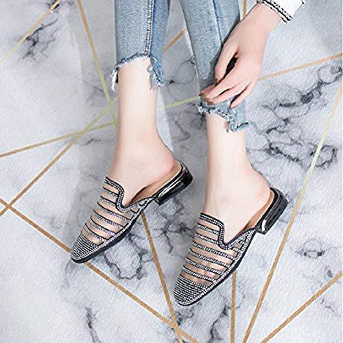 Black Flats for Dress Slip JULY Bling Lazy Sandals Toe Closed Anti T Slip On Sparkle Glitter Mesh Shoes Rhinestone Women BHwgXq