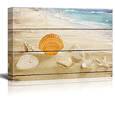 Canvas Prints Wall Art - Seashells on The Beach with Vintage Wood Background - 12