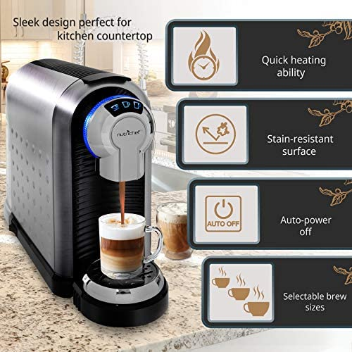 NutriChef Nespresso Machine Coffee Cappuccino Maker with Milk Frother - Compatible with Nespresso Coffee Capsule Pods - Instant Heating and 3 Brewing Sizes - PKNESPRESO70