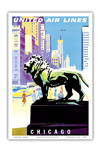 Chicago, USA - Bronze Lion Statues - Art Institute of Chicago - United Air Lines - Vintage Airline Travel Poster by Joseph Binder c.1958 - Master Art Print - 12in x 18in