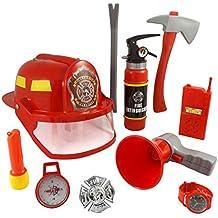 10pcs Fireman Gear Bombero Disfraz Role Play Juguete Set para niños con casco y accesorios