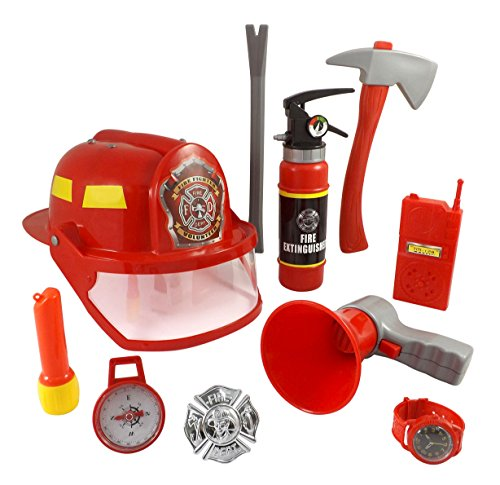 10 Pcs Fireman Gear Firefighter Costume Role Play Toy Set for Kids with Helmet and (Kids Fire Helmet)