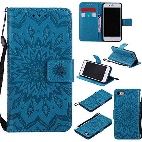 iPhone 7 Case,Durable Lightweight PU Leather Embossed Flip Cover with Inner Soft Bumper Shockproof Wallet Shell Cover with Magnetic Closure Xmas Birthday Gift for Apple iPhone 7 -Sunflower Blue