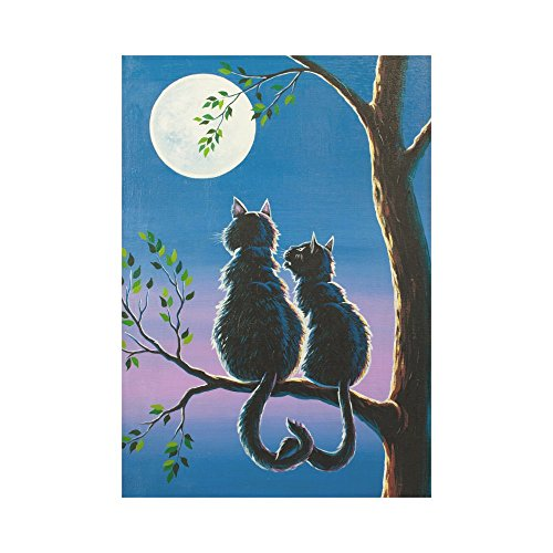 InterestPrint Romantic Cat Lover on a Tree Polyester Garden Flag Outdoor Banner 28 x 40 inch, Valentine's Day Moon Decorative Large House Flags for Party Yard Home Decor