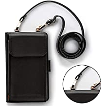 Cross body cellphone wallet for girls Premium Leather Cell Phone Purse with Detachable Long Shoulder Strap for Phone Under 5.5 inch[9 card Slots]Cash Compartmet with Magnetic Button/Photo Holder-Black