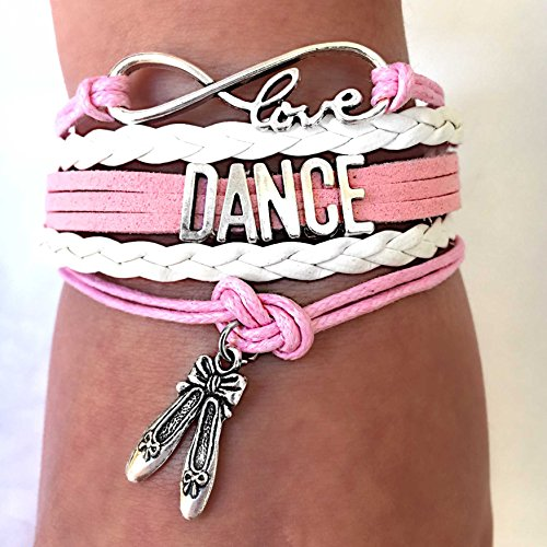 BAE Icons Dance Bracelet Gift for Girls, Infinity Dance Bracelet Ballet Shoes Charm, Gift Wrapped (Pink, White, 5.5in medium). Pink jewelry for Girls. Dance Girl Gift for Birthday Gifts ()