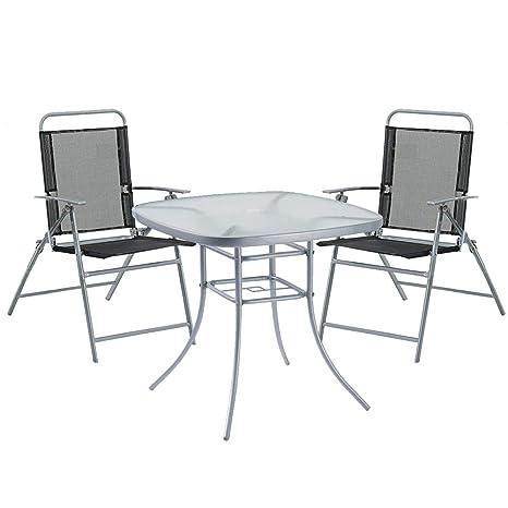 Havnyt - Juego de Mesa para jardín (80 cm, 4 sillas ...