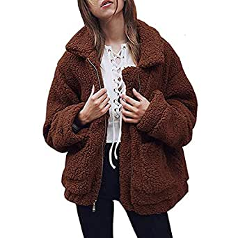 NSBS Women Coat Winter Casual Lapel Fleece Shaggy Fuzzy