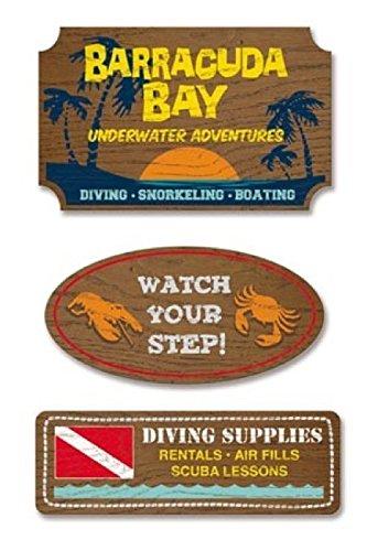 - KAREN FOSTER Design Faux-Wood Signs Scrapbooking Embellishments, Scuba Diving
